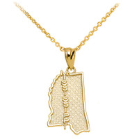 Yellow Gold Mississippi State Map Pendant Necklace