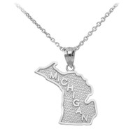 Sterling Silver Michigan State Map Pendant Necklace