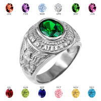 Solid White Gold US Army Men's CZ Birthstone Ring