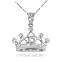 White Gold Quince Crown Pendant Necklace