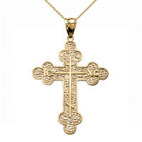 Yellow Gold Eastern Orthodox ICXC Cross Pendant Necklace