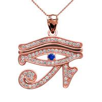 Eye of Horus Rose Gold CZ Pendant Necklace