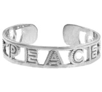 "White Gold ""PEACE"" Toe Ring"