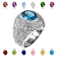 Sterling Silver US Navy Men's CZ Birthstone Ring