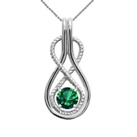 Infinity Rope May Birthstone Emerald White Gold Pendant Necklace