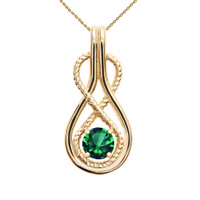 Infinity Rope May Birthstone Emerald Yellow Gold Pendant Necklace