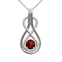 Infinity Rope January Birthstone Garnet White Gold Pendant Necklace