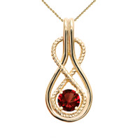 Infinity Rope January Birthstone Garnet Yellow Gold Pendant Necklace
