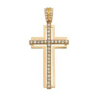 Yellow Gold 2 Carat Cubic Zirconia Cross Pendant