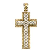 Yellow Gold 4.5 Carat Cubic Zirconia Cross Pendant