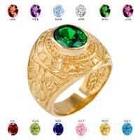 Solid Gold US Marine Core Men's CZ Birthstone Ring