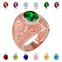 Solid Rose Gold US Marine Core Men's CZ Birthstone Ring