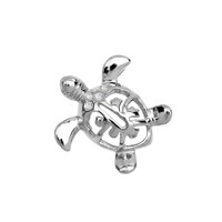 White Gold Diamond Hawaiian Lucky Charm Honu Turtle Hidden Bail Pendant
