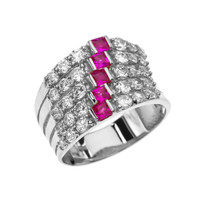 Fancy Five Raw Red and White CZ White Gold Modern Ring