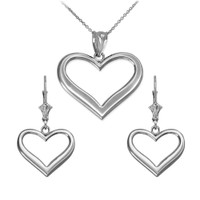 Sterling Silver Polished Open Heart Necklace Earring Set