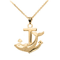 Yellow Gold Anchor Textured Dolphin Pendant Necklace