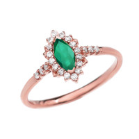 Diamond and Marquise (LCE) Emerald Rose Gold Proposal Engagement Ring