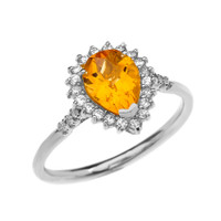 Diamond and Pear Shape Checkerboard Citrine White Gold Proposal Engagement Ring