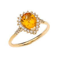 Diamond and Pear Shape Checkerboard Citrine Yellow Gold Proposal Engagement Ring