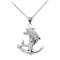 High Polished White Gold Textured Dolphin Anchor Pendant Necklace