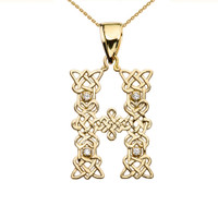 """""""H"""" Initial In Celtic Knot Pattern Yellow Gold Pendant Necklace With Diamond"""