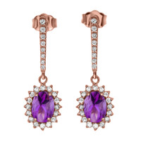 Diamond And Amethyst Rose Gold Elegant Earrings