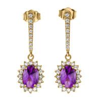 Diamond And Amethyst Yellow Gold Elegant Earrings