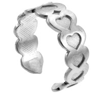 Fancy Heart White Gold Toe Ring