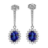 Diamond And September Birthstone Sapphire White Gold Elegant Earrings