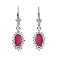 Diamond And Ruby White Gold Dangling Earrings