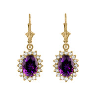 Diamond And Amethyst Yellow Gold Dangling Earrings