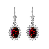 Diamond And Garnet White Gold Dangling Earrings