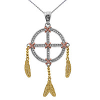 Gold And Diamond Dream Catcher Pendant Necklace