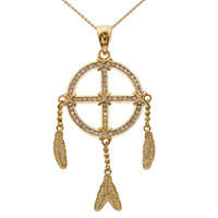 Yellow Gold And Cubic Zirconia Dream Catcher Pendant Necklace