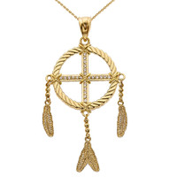 Dream Catcher Yellow Gold And Diamond Pendant Necklace