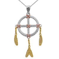 Dream Catcher Gold And Cubic Zirconia Pendant Necklace