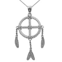 Dream Catcher White Gold And Cubic Zirconia Pendant Necklace