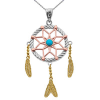Gold And Turquoise Flower Dream Catcher Pendant Necklace
