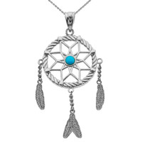 White Gold And Turquoise Flower Dream Catcher Pendant Necklace
