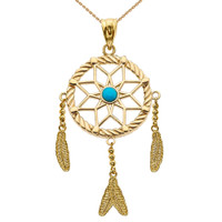 Yellow Gold And Turquoise Flower Dream Catcher Pendant Necklace