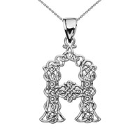 """""""A"""" Initial In Celtic Knot Pattern Sterling Silver Pendant Necklace"""