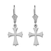 14K White Gold Roman Catholic Earrings
