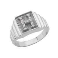 White Gold Diamond Initial H  Ring