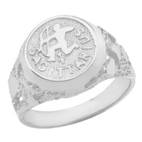 Sterling Silver Sagittarius Zodiac Sign Nugget Ring