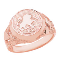 Rose Gold Leo Zodiac Sign Nugget Ring