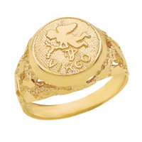 Yellow Gold  Virgo Zodiac Sign Nugget Ring