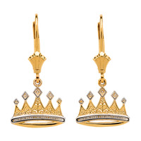 14K Yellow Gold Royal Crown Earrings