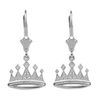 14K White Gold Royal Crown Earrings