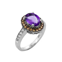White Gold Amethyst and Diamond Engagement Ring