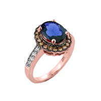 Rose Gold Diamond and Sapphire (LCS) Engagement Ring